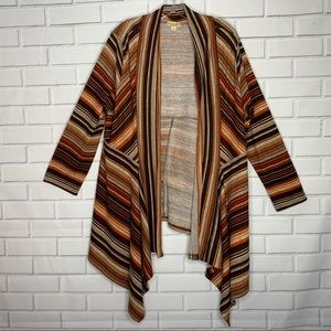 One World cardigan fall colors 1X drape wrap front